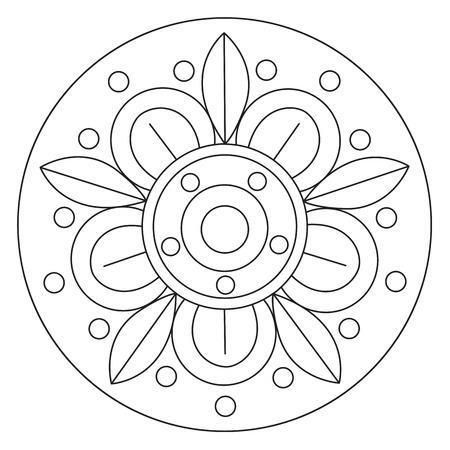 Vector Para Colorear Flores Simples Y Hojas Mandala Redondo Para ...