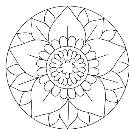 Colorear Vector Grande Simple Mandala De La Flor Para Los Niños ...