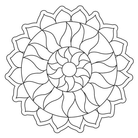 Vector coloring simple sun round mandala for children