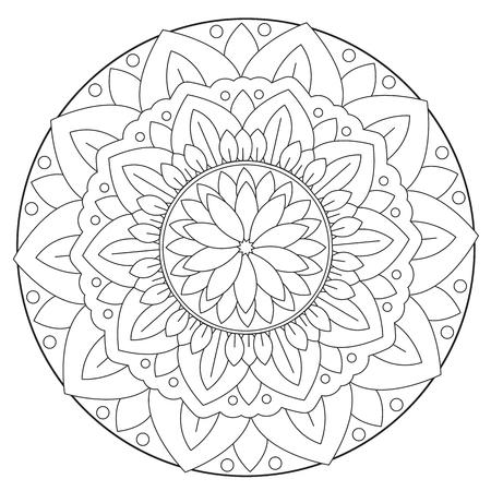 Coloración Simple Del Vector Redondo De La Mandala Del Hermoso Color ...