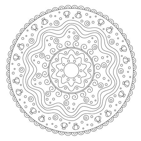 Vector De Coloración De Las Hojas Redondo De La Mandala Para Los ...