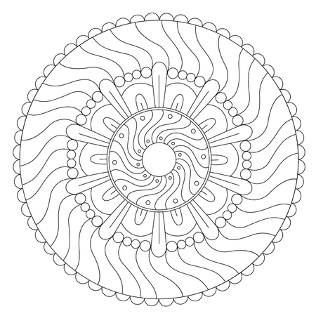 Vector Coloring Geometric Wave Mandala Round Ornament Royalty Free