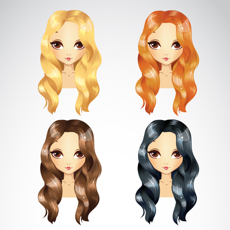 Vector illustration of casual wave hair styling in different colours for woman Illustration