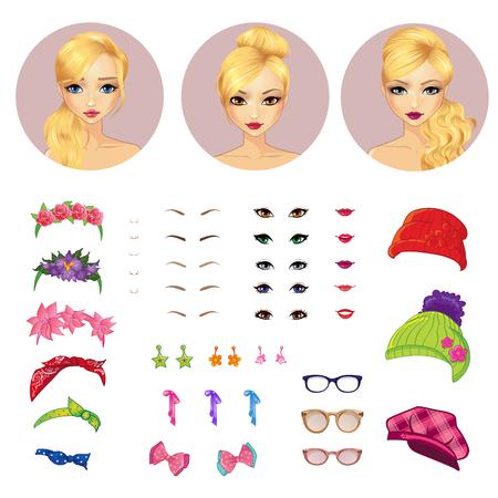 caratteri di vettore ragazza avatar costruttore set e accessori