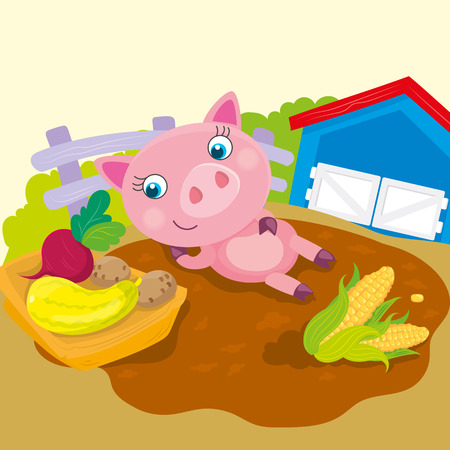 trough: Vector illustration of pig lies in a puddle next to the trough with vegetables