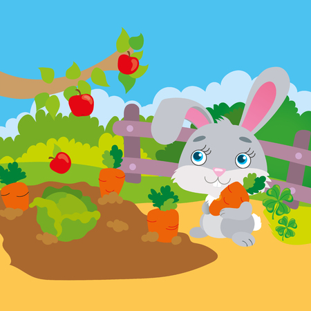 Vector illustration of rabbit gnawing a carrot in the garden