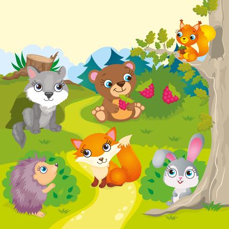 Ilustración del vector de los animales del bosque - lobo, el oso, el zorro, el erizo, la liebre y la ardilla