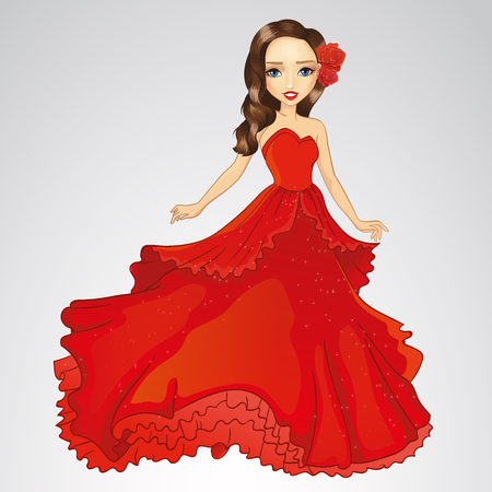 Beauty Princess In Red Dress