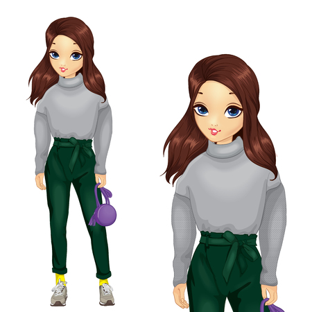 Girl In Dark Green Pants With Bow Illustration