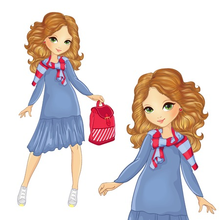 Girl In Blue Dress And Striped Sweater Ilustrace