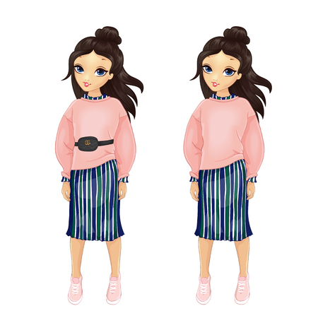 Girl dressed in stylish pink pullover and striped skirt