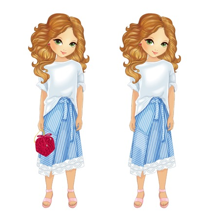 Girl dressed in white shirt and skirt in blue stripes holds a red bag