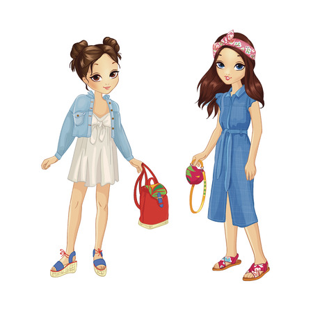 Two girls dressed in stylish outfits with bright accessories