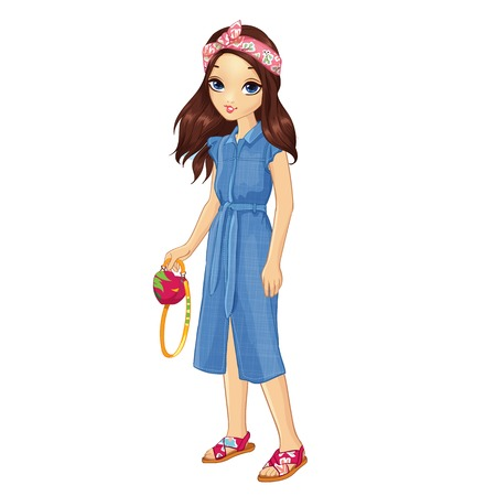 Girl dressed in denim dress and with a bright bandage on her hair