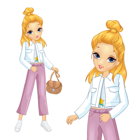 Fashion girl dressed in white jacket and pink trousers Ilustração