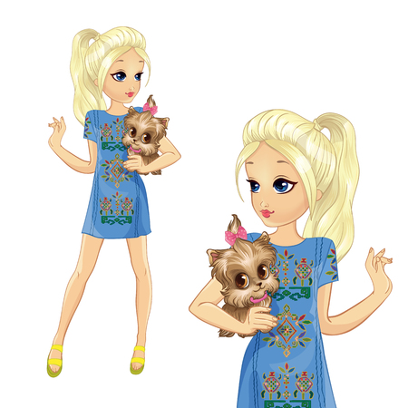 Girl dressed in stylish denim dress with an applique is holding a cute dog Ilustração