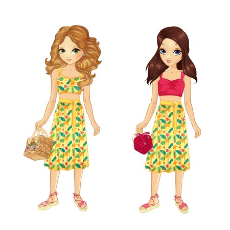 Two girls dressed in stylish outfits with flower bright skirt