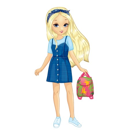 Girl in jeans dress and T-shirt holding a backpack with flower pattern