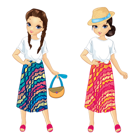 Two girls dressed in stylish outfits with white T-shirt and striped bright skirt