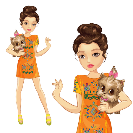 Girl in orange dress with embroidery holds small dog Ilustração