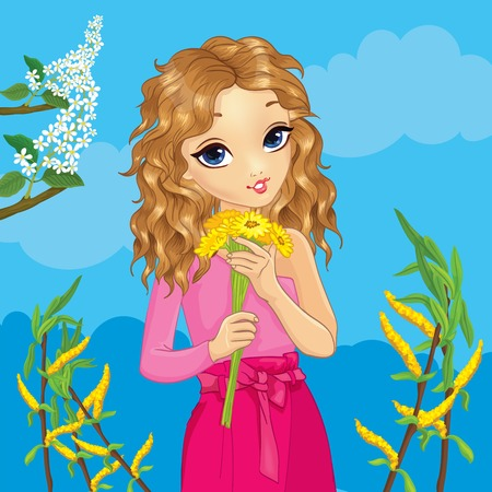 Girl with curly hair in pink suit holds bouquet of flowers on spring background Ilustração