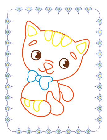 Coloring book of cute animals cat on white background Ilustração