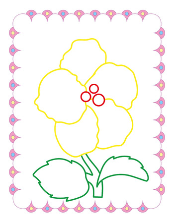 Coloring book of cute yellow flower on white background