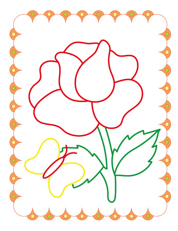 Coloring book of cute flower rose on white background