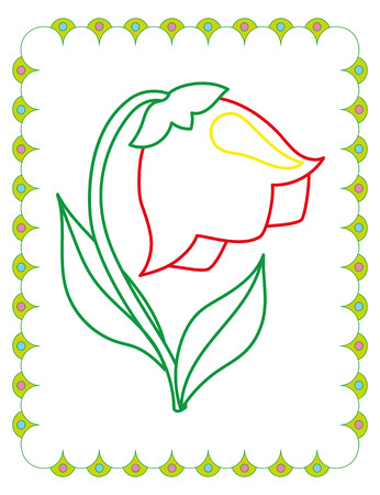 Coloring book of cute flower bell on white background