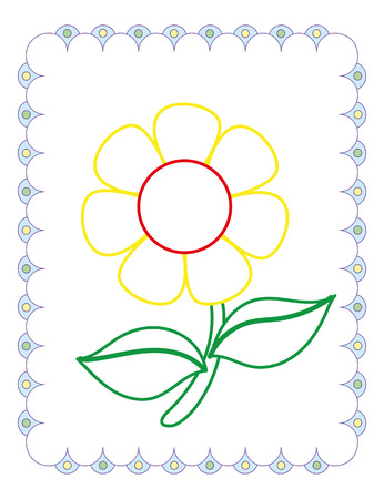 Coloring book of cute flower chamomile on white background