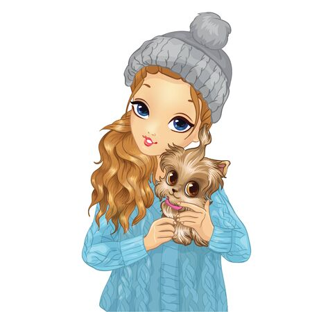 Girl In Blue Hat Holding Cute Puppy