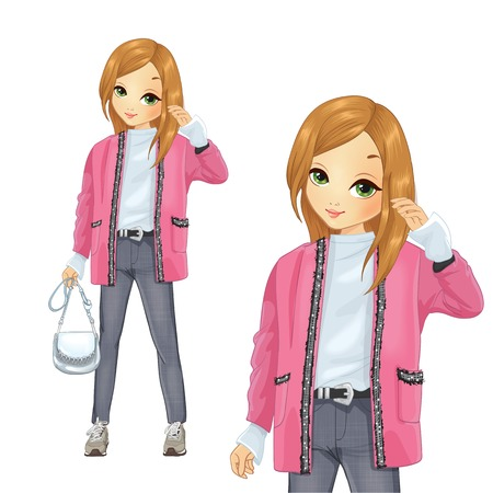 Girl dressed in pink long cardigan and gray jeans Illustration