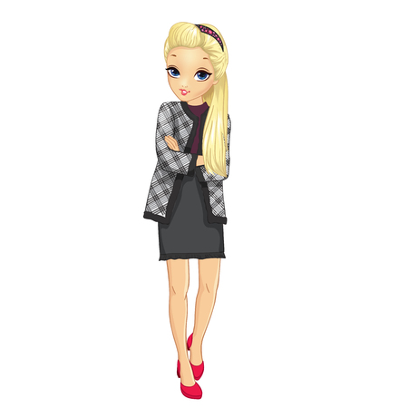 Girl dressed in business style jacket and skirt Ilustrace