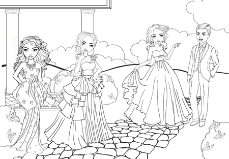 Vector coloring book of beautiful fashion girls in evening magnificent dresses at ball in park Stock Illustratie