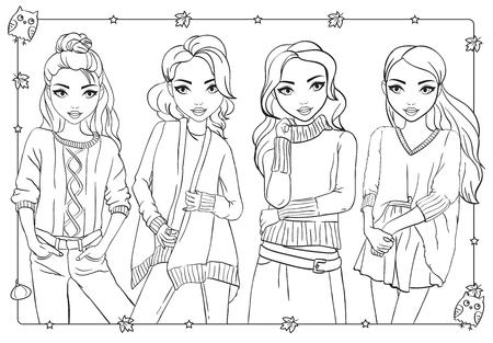 Libro para colorear de vectores de hermosas chicas de moda en cálidos suéteres y sudaderas de punto