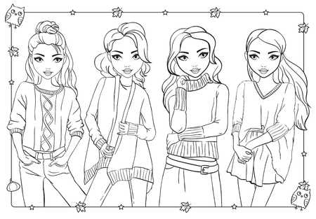 Vector coloring book of beautiful fashion girls in warm knitted sweaters and sweatshirts Vectores