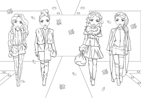 Vector coloring book of beautiful fashion girls in jackets and coats with fur on runway