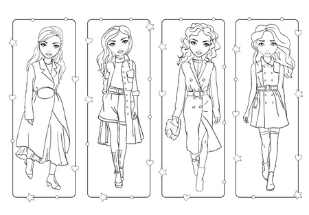 Vector coloring book of beautiful fashion girls in stylish trench coats