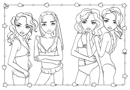 Vector coloring book of beautiful fashion girls in bathing suits and bikini standing