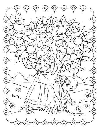 Coloring Book Of Sister And Brother With Apple Tree
