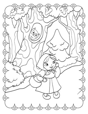 Coloring book of russian fairy girl in the forest