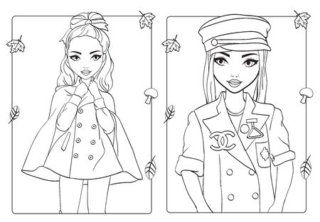 Vector coloring book of beautiful girls in cropped coat, cap and jacket Ilustração