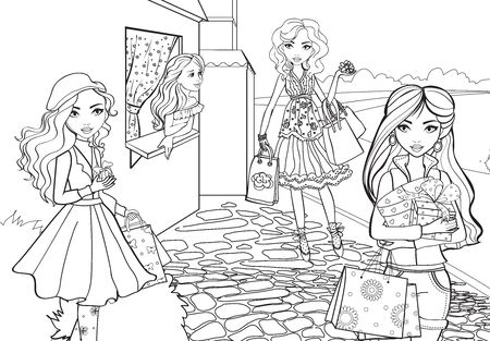 Coloring Book Of Girls Shopping Around City Imagens