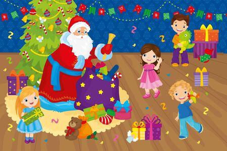 Santa Claus Congratulates Children Near Christmas Tree Ilustração