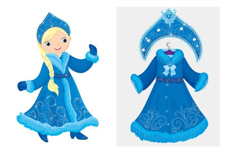 Snow Maiden In Elegant Dress And Kokoshnik Illustration