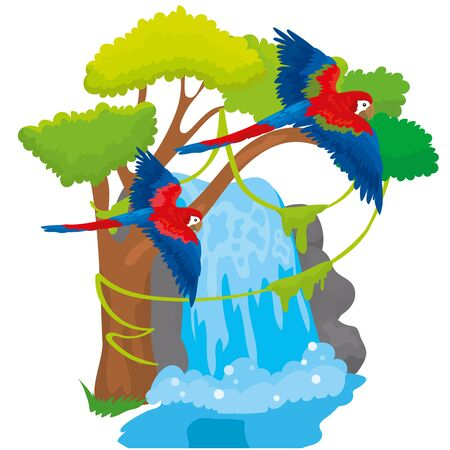 Vector Illustration Macaw Parrots Fly Over Waterfall