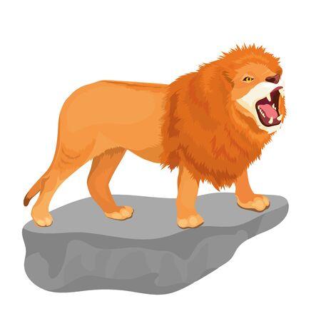 Vector Illustration Of Lion Roars On Stone