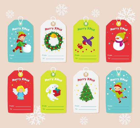 Christmas set of decorative elements on gift cards for kids
