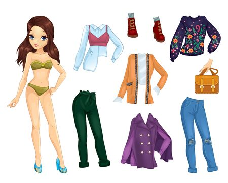 Paper Doll With Trendy Casual Warm Clothes