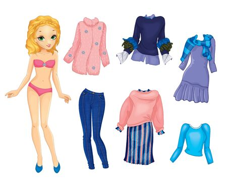 Paper Doll With Warm Blue And Pink Clothes